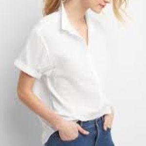 Gap rolled sleeve white blouse - size large